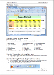 Microsoft Excel Beginners Course 301 Workbook Screen Shot