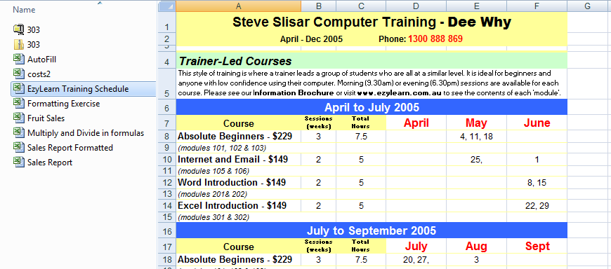 Microsoft Excel training courses AutoFill, Calculations & Formatting
