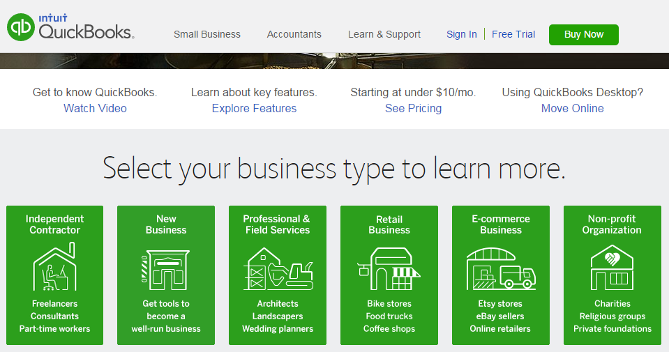 All Types of Business can use Intuit Quickbooks from Consultant self employed, trades people and larger