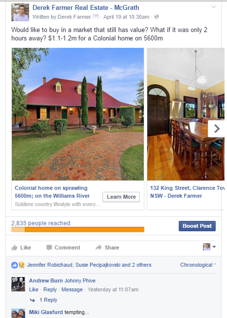 Facebook Ad Views for individual property advertisement - Clarence Town
