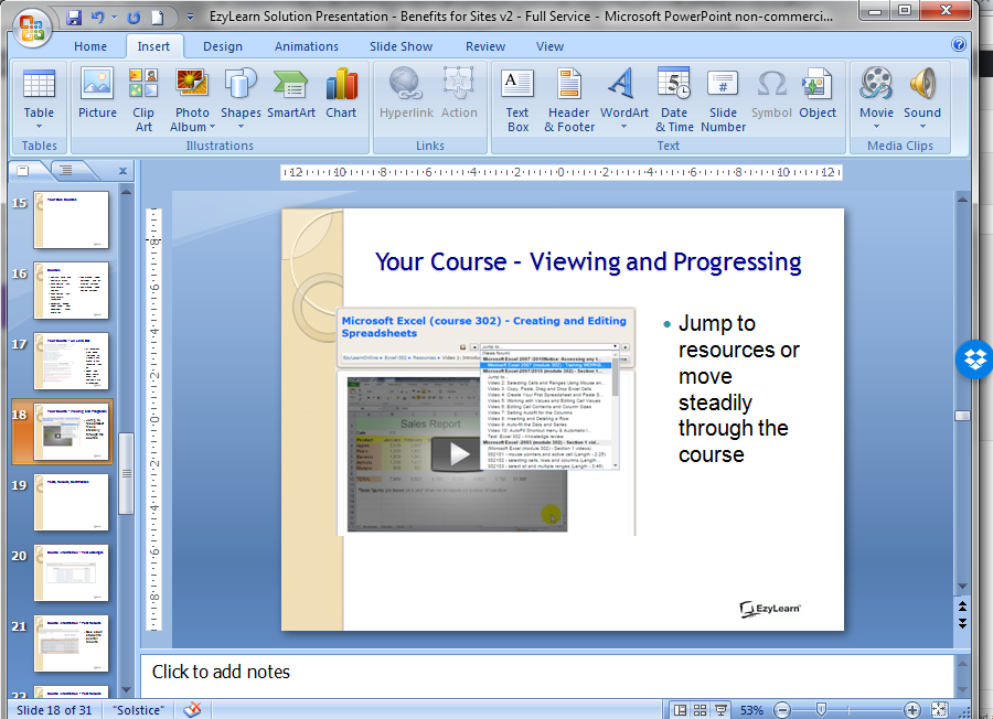 Screen shot of Microsoft PowerPoint Presentation for online staff and contractor inductions