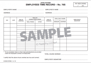 Zions Systems Manual Timesheet and employee record for staff roster - what about PAYG, Super etc Payroll Course MYOB, Xero, Quickbooks