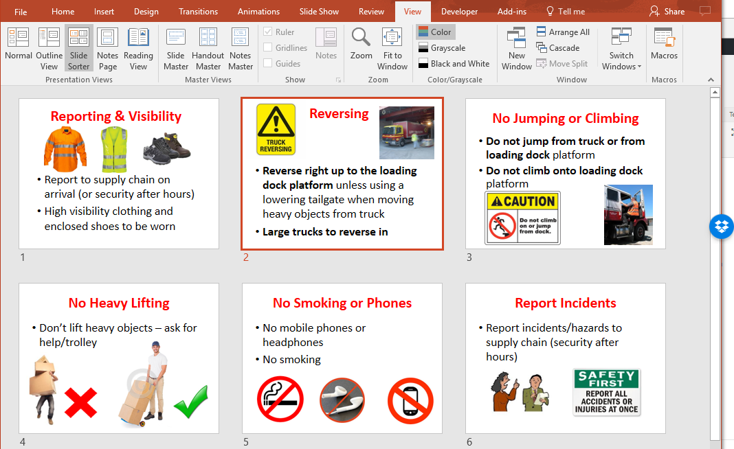 Microsoft PowerPoint helps create site safety inductions for visitor management for due diligence of PCBUs