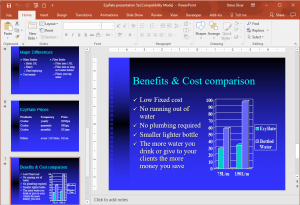 PowerPoint Intermediate Course - Editing a presentation with slide view on left and main slide